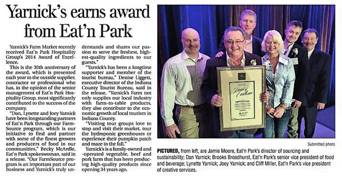 Yarnick's Farm wins award from Eat 'n Park!